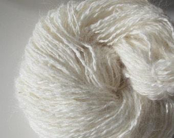 White Bliss -- Handspun Angora -- 4.2 oz/119 gr, 235 yards/215 meters, natural white