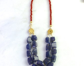 Luster - GORGEOUS Iolite Nugget, Carnelian 2 Strand Statement Necklace in 22kg Vermeil...