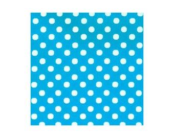 HALF YARD - Lecien - Color Basic - 4506-L Bright Blue with White Medium Dots - Japanese Import Fabric