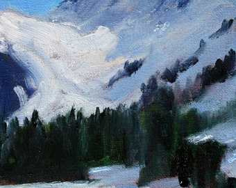 Mountain Landscape Painting, Original Oil, 5x7 Canvas, Northwest Nature Scene, Glacier Trees, Small Wall Decor, Blue White, Winter Snow