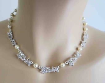 Bridal Statement Necklace Bridesmaid Jewelry Wedding Crystal Necklace Pearl and Rhinestone Bridal Jewelry Bridesmaid Mother Wife Gifts