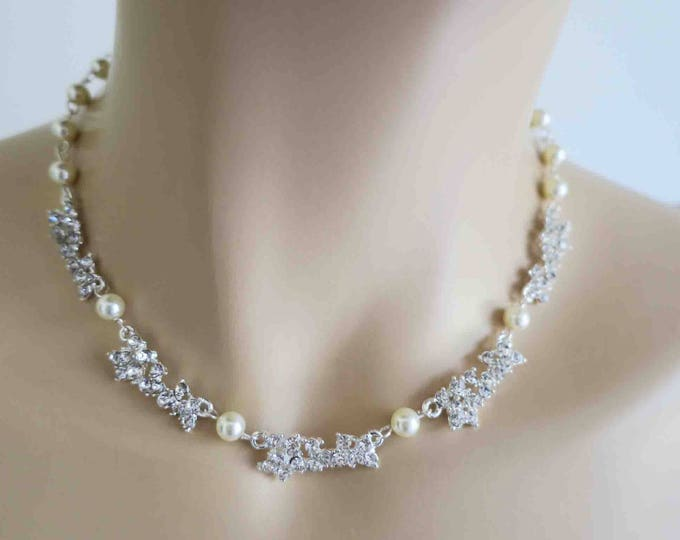 Delicate Pearl and Crystal Necklace