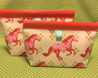 Grafitti Horse Oilcloth Snappy Pouch - 2 sizes