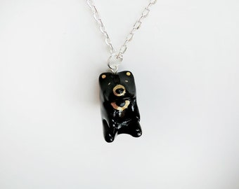 Golden Sun Bear Pendant Necklace