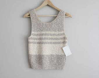 striped knit tank | neutral stripe sweater | beige tank top