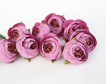10 Small Vintage Inspired Ranunculus Buds in Mauve Purple - silk artificial flower, millinery flower - ITEM 01008