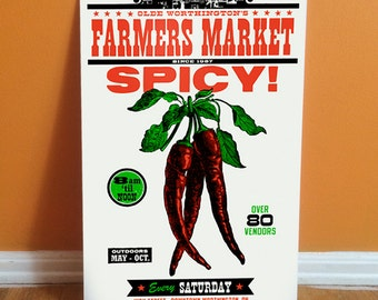 SPICY Letterpress Farmers Market 11 x 17 Poster featuring Hot Chili Peppers vegetables. Food related art print - great for the kitchen.