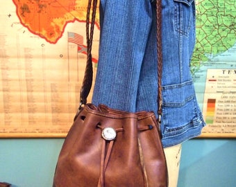 Brighton Brown Leather Drawstring Hobo Boho bag with Braided Handle Nicely Aged