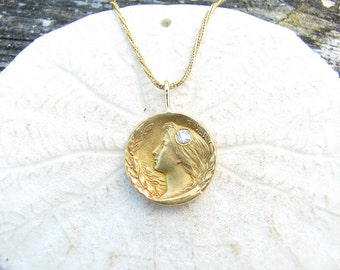 Art Nouveau Gold Pendant Necklace, Elegant Woman with Old European Cut Diamond, Flowing Hair & Leaves, 14K Gold with Pretty Chain