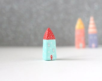 Little clay home - aqua blue house with dots and red dotted roof