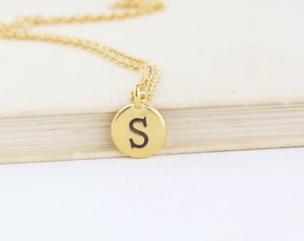 Custom Initial Necklace - Gift For Daughter - Monogram Necklace - Personalized Birthday Gift - Monogram Circle Pendant - Personalized Gift