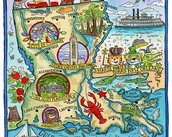 "Louisiana State Map 8""x 10"" Art Print"
