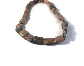 Rhodonite Gemstone Beads, Multi Color Chicklet Beads, 15 Inch Strand of Natural Gemstones for Making Jewelry (S-Rhod1)