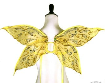 Junebug No.8 - Small Glitter Fairy Wings in Yellow and Gold - Strapless Convertable