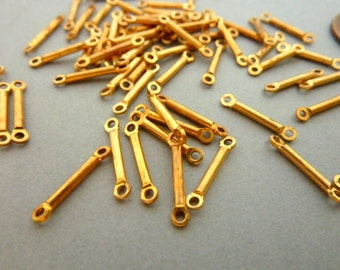 24 Spacer Connector Link Beads - Raw Brass Solid