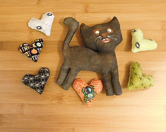 Halloween Cat,  Spider Heart Ornaments  Bowl Fillers Decorations