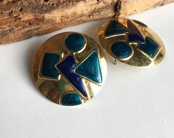 Vintage Enamel Earrings, Gold Plated Disc Earrings, Enamel Earrings, Geometric Shapes, 80's Earrings, 1980's Earrings, Vintage Earrings