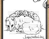 JessicaLynnOriginal Happy Mother's Day Opossum and her Babies Digital Stamp - Instant Download