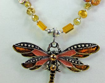 Dragonfly Pendant with Sparkling Amber Cut Crystal Beads and Carved Shell Flowers Necklace
