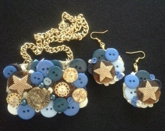Assemblage Statement Button Necklace and Earring Set, Nautical, Blue Tones, Vintage
