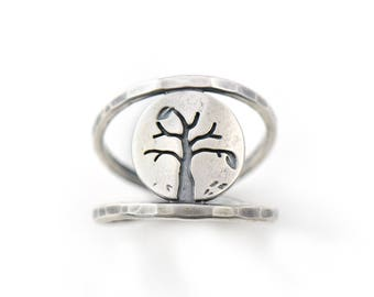 Mini Four Seasons Series - Autumn Tree Sterling Silver Double Band Handmade Ring