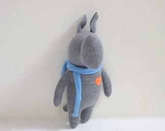 Handmade Rhino stuffed small animal OOAK dark grey Rhino doll eco toy upcycled Merino wool sweater plush Rhino bubynoa Elifants&rhinos