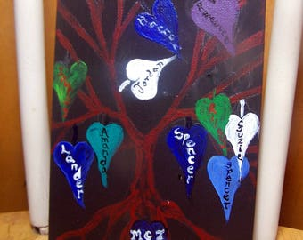 Family Tree painting  - Genealogy tree of life birthstone gift for fathers's day or mothers - small on black background canvas 8 x 10 custom