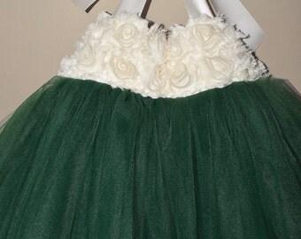 Emerald Green Tutu Dress, Emerald Ivory Flower Girl Tutu Dress, Emerald Toddler Tutu Dress, Dark Green Baby Tutu Dress, Forest Green Dress