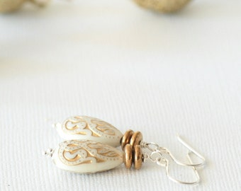 White and Gold Earrings, Ornate Earrings, Silver and Gold, Holiday Jewelry, Winter Earrings, Elegant Jewelry, Acrylic and Sterling Silver