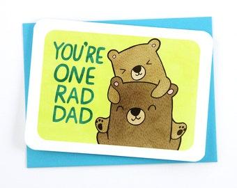 Rad Dad Bear - Father's Day Card for Dad Card Papa Bear Card Awesome Dad Card Cute Fathers Day Card Dad appreciation Grandpa Card from son