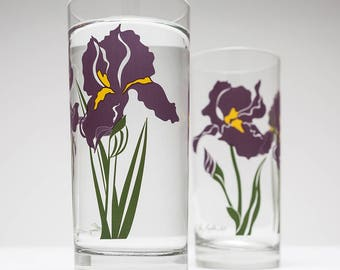 Your Mom's Favorite Iris Drinking Glasses - Set of 2 Everyday Water Glasses, Mother's Day Gift, Gift for her, Purple Irises, Iris glassware