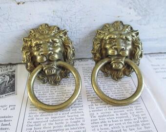 Pair of Large Vintage Brass Lion Drawer Pulls