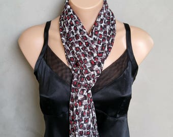 Red, Gray, Black Abstract Sheer Chiffon Skinny Scarf