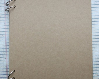 """8 1/2"""" x 11"""" bare Chipboard album or journal 10 Pages with 4 book ring binding"""