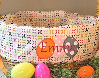 Easter Basket Liner with eggs---Personalized---Monogrammed---Lots of fabrics to choose from