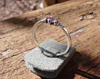 70% OFF Going Out of Business Sale.. Solitude... Sterling Silver Ring with 3mm Pink tourmaline. Size 6.25