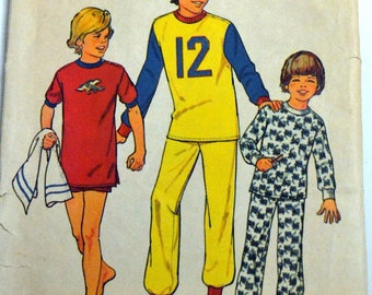 Sewing Pattern Simplicity 6692 Boys' Pajamas Size 10 & 12 Chest 28-30 inches Complete