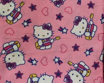 Hello Kitty Guitar Music 100% cotton quilting crafting sewing fabric by Sanrio David Textiles