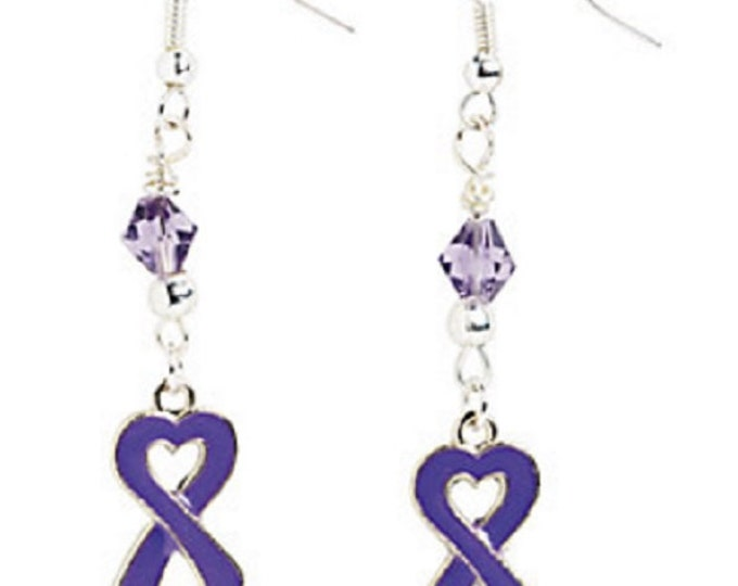 Heart-Shaped Purple Ribbon Earrings