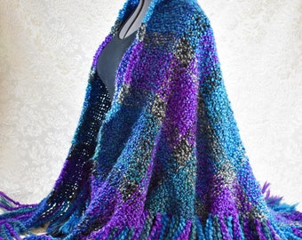 Handwoven Shawl in blue, turquoise, and purple plaid