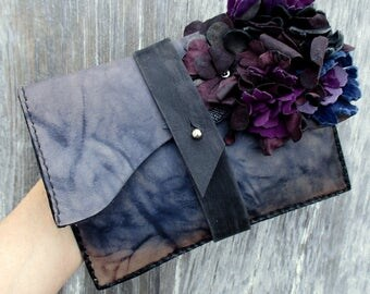 Leather Flower Clutch by Stacy Leigh in Marbled Blue
