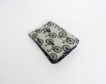 Card case, bike fabric, black and grey bicycle fabric, cotton case