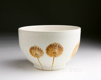 Stoneware Bowl - Salad Bowl - Pasta Bowl - Pottery Bowl - Cereal Bowl - Soup Bowl - Botanical Bowl - Dandelion Wish Puff