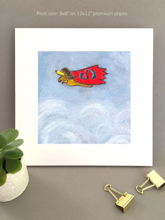 Doxie Wall Art, dachshund painting, flying doxie dashund, superdog dog with red cape art for my house  FREE Shipping