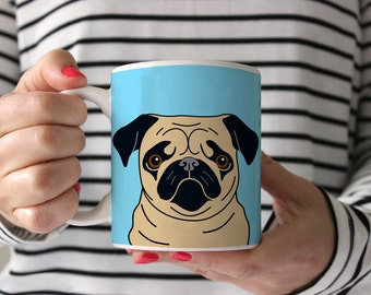 Pug Coffee Mug - Fawn Pug Ceramic Mug  - Pug Mug - Dog Mug - Gift for Coffee Lovers - Pug Lover Gift - Pug Crazy Mug - Pug Gift