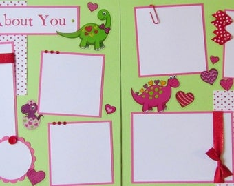 Premade 12x12 Scrapbook Layout Pages - VaLenTiNe'S DaY --WILD ABOUT YOU -- baby, toddler, kid, boy, girl, love, DiNoSaURs