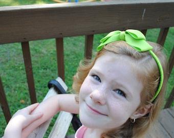 Apple Green Bow Headband - Girls Headband for School - Bow on Hard Headband - Double Bow - Toddler Headband - M2M Headband - Apple Green Bow