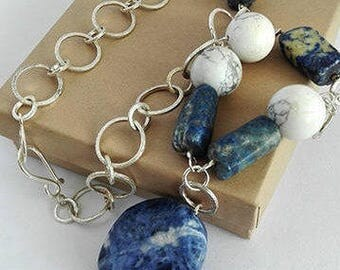 Silver Howlite Necklace, Healing Stone Necklace, Blue and White Necklace, White Turquoise Necklace, Round Bead Necklace, White Howlite