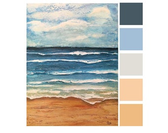 Sea Ocean Waves Beach Palette Painting - Made to Order - Semi Abstract - Acrylic Artwork - Modern Minimal Contemporary Art