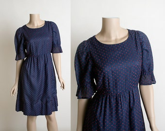 Vintage 1960s Dolly Dress - Dark Navy Blue with Red Dots - Puff Sleeve Cotton Dress - Square Dance Style - Medium